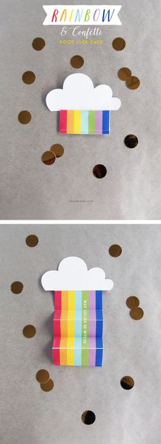 Rainbow and Confetti Good Luck Card | St Patrick's Printable | DESIGN IS YAY!