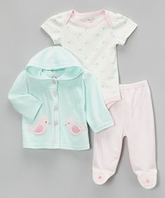 Loving this René Rofé Baby Mint Sweet Birdie Velour Hooded Jacket Set on #zulily! #zulilyfinds