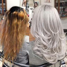 White Ombre Hair, Grey White Hair, Silver Blonde Hair, Long Gray Hair, Platinum Blonde Hair, Ombre Hair Color, Blonde Color, Frosted Hair, Color Correction Hair