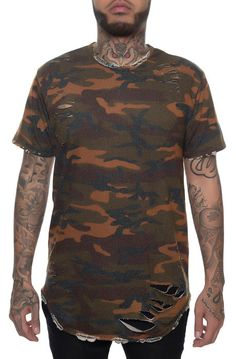 EPTM The Distressed Thrasher French Terry Tee in Camo - Karmaloop.com
