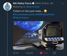 Western Australia's police responsd to Elon informing us his car is currently over Australia.