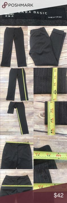 🍒Zara 6 Pinstriped Tapered Leg Cuffed Ankle Pants Measurements are in photos. Normal wash wear, no flaws. A4/42  I do not comment to my buyers after purchases, due to their privacy. If you would like any reassurance after your purchase that I did receive your order, please feel free to comment on the listing and I will promptly respond.   I ship everyday and I always package safely. Thank you for shopping my closet! Zara Pants Ankle & Cropped