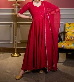 Dress Indian Style, Indian Fashion Dresses, Western Kurtis, Kurtis Tops, Anarkali, Red, Fabric, Pants, Tejido
