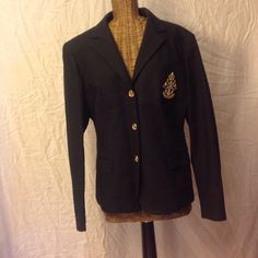 Ralph Lauren black crested blazer. This jacket is fabulous~It is brand from the Lauren Yacht Line ⚓️⛵️  It has a chest pocket with a wonderful Ralph Lauren anchor crest, 2 front pockets   The jacket has 3 gold signed buttons on the front and 4 on each sleeve Ralph Lauren Jackets & Coats Blazers