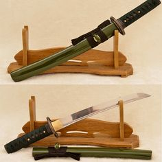 Green Saya 1060 Steel Oil Quenched Tanto Sword Full Tang