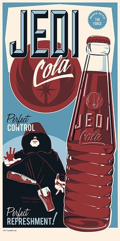 "Star Wars Limited Edition Silkscreen ""Jedi Cola"" by Steve Thomas"