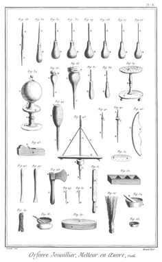 Antique jewellery and goldsmithing tools Antique Tools, Old Tools, Vintage Tools, Woodworking Wood, Woodworking Projects, Welding Projects, Tool Poster, Lumber Storage, Tool Storage