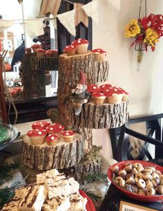 Project Nursery - Toad Stool Cupcakes Displayed on Tree Trunks Twin First Birthday, First Birthday Parties, First Birthdays, Boy Birthday, Woodland Party, Woodland Theme, Woodland Onederland Party, Mushroom Cupcakes, Enchanted Forest Party
