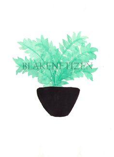 House Fern in Black Pot Print of Original by Blakenetizen on Etsy, $5.00