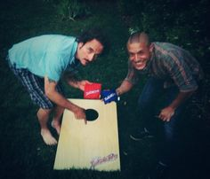 From: Theo Rossi (Theorossi) on Twitter - he and Kim Coates (Tig) playing a game of cornhole toss!  LOL
