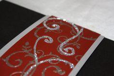 Striking  Black and Red Pocketfold wedding invitation
