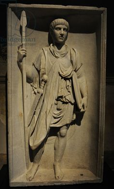 Roman legionary. Relief. 2nd century AD. From a triumphal arch of Emperor Trajan. Neues Museum (New Museum). Berlin. Germany.