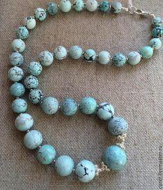 Купить ПРОДАНО! Бусы Небесный камень (Бирюза) - голубой, бирюза натуральная, бирюза природная, бирюзовый