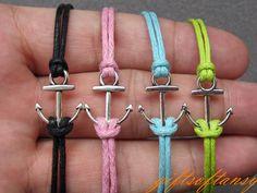 Anchor Bracelet-- Cute Silver Anchor Bracelet, Black Wax Cords Braclet, Best Gift for Friend---C223. $1.49, via Etsy.