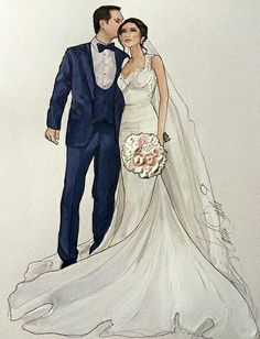 Stunning Couple - Samira and Nicolai- Wedding Drawing, Wedding Dress Sketches, Wedding Art, Wedding Styles, Wedding Gowns, Wedding Illustration, People Illustration, Fashion Design Drawings, Fashion Sketches