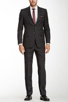 Glenplaid Trim Fit Two Button Notch Lapel Wool Suit