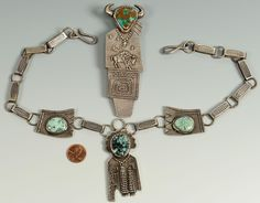 Lot 385: Anthony Lovato Santo Domingo silver necklace and p