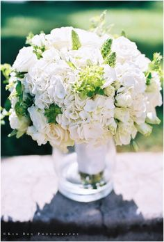 This white hydrangea & rose bouquet is pretty simple to construct