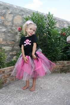 Epilepsy Awarness Pink and Black Pirate Princess Tutu $20  #tutu #pirate