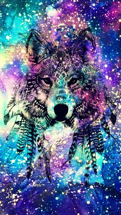 Tribal Wolf Galaxy Wallpaper