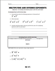laws of exponents multiplication property and power to a power rh nl pinterest com Dividing Exponents Exponents Math