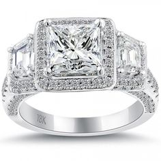 4.17 Carat F-VS2 Princess Cut Natural Diamond Engagement Ring 18k Vintage Style - Vintage Style Engagement Rings - Engagement - Lioridiamonds.com