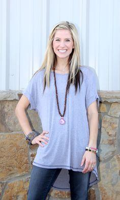 Heather Knit Hi-Low Cuffed Sleeve