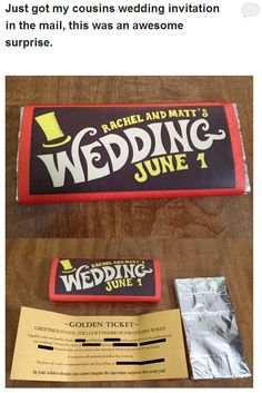 Charlie and the Chocolate Factory 24 Adorably Geeky Wedding Invitations Perfect Wedding, Our Wedding, Dream Wedding, Trendy Wedding, Wedding Stuff, Destination Wedding, Wedding People, Wedding Dress, Tamil Wedding