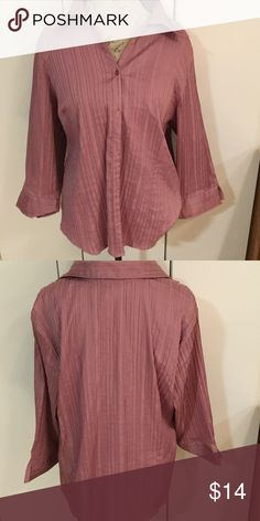 Dress barn pink/purple top Nice button down top. In great used condition. All buttons and no stains. 54bust 26in long. 98%polyester 2%spandex. Dress Barn Tops Button Down Shirts