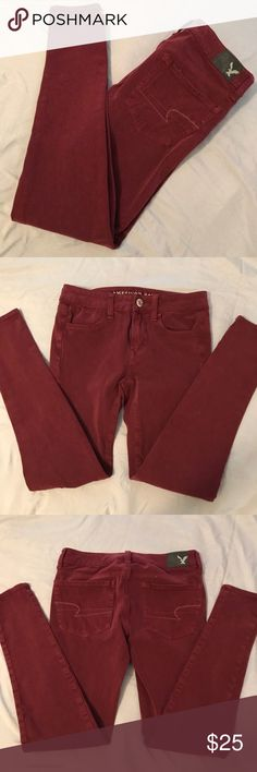 American Eagle Hi Rise Jeggings Super soft and stretchy american eagle jeggings in a burgundy/wine color!  Side note: the color of the jeggings taken from the american eagle website are a bit darker than the ones listed! you will NOT be receiving that color but WILL be receiving the color of the jeggings in the pictures i've taken. thanks!! American Eagle Outfitters Jeans