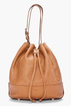 A.P.C. Brown Pebbled Leather Bucket Bag for Women | SSENSE
