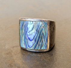 Abalone Ring   Sterling Silver   Mens heavy by GemstoneCowboy