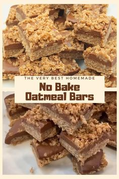 This is the very best no bake oatmeal bars recipe! It features peanut butter, chocolate, and of course oatmeal, combined into one delicious dessert bar! Your family is sure to love these! Oatmeal Dessert, No Bake Oatmeal Bars, No Bake Bars, Oat Cereal Bars Recipe, Desserts With Oatmeal, Oat Squares Recipe, Homemade Oatmeal Bars, Oatmeal Squares, Oatmeal Breakfast Bars