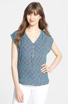 Pleione Print Cap Sleeve Zip Placket Top (Regular & Petite) available at #Nordstrom. #pleione #womensfashion #blouse