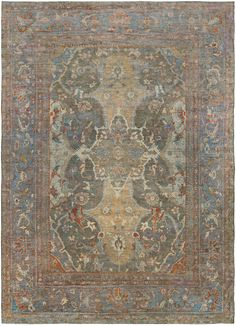 Antique Persian Rug Carpet with floral ornaments. Interior living room decor…