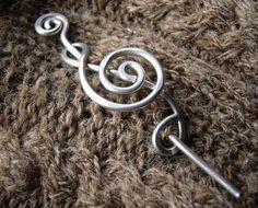 Treble Clef Shawl Pin or Brooch  Light Weight by nicholasandfelice, $18.00
