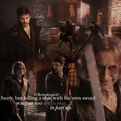 """Rumple to Hook (when he takes his sword): 'Sorry, but killing a man with his own sword was just too delicious to pass up.' - 2.4 """"The Crocodile"""" - Once fan art"""