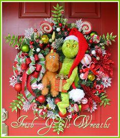 XL Grinch and reindeer dog Max Christmas Wreath, by IrishGirlsWreaths