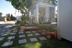 Concrete pavers and copper planters at the James Franco Pop-Up House designed by Matthew Lanphier