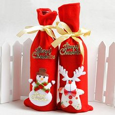 4pcs/lot Santa Claus Bear Deer Snowman Wine Bottle Cover Bags Christmas Dinner Home Party Table Decoration Christmas Party Supplies - Brought to you by Avarsha.com