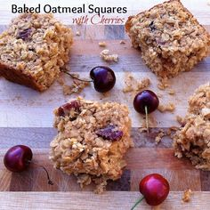 Take oatmeal to the next level with these baked oatmeal squares with dried cherries. Delicious for breakfast or a snack - kids will love them, too! Oatmeal Breakfast Bars, Oatmeal Bars, Baked Oatmeal, Best Breakfast, Breakfast Recipes, Breakfast Ideas, Dessert Recipes, Baked Oats, Breakfast Cookies