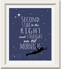 Peter Pan Second Star to the Right Version 2 by OliveandBirch, $4.50