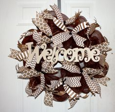 Deco mesh-Welcome wreath deco mesh/burlap MADE BY LW