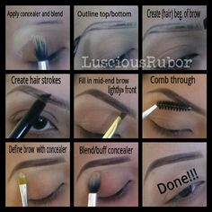 "Eyebrow Tutorial! Requested by: @sohe_mora8383 . Products.used: Motives Concealer, E.l.f. black Creme Eyeliner (for shape/hairstrokes), Girlactic ""Bark"" dark brown Eyeshadow (to fill in) After applying concealer and blending ... slightly powder that area before doing brows! If you have fuller brows, you can use this same method. NOTE: After dipping angled brush in eyeliner, wipe excess product off either on palette or back of hand so you won't have too much on the brush! #ilovemaciggirls…"
