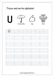 English Worksheet - Alphabet Writing - Small Letter u English Alphabet Writing, Alphabet Writing Worksheets, Alphabet Writing Practice, Writing Practice Worksheets, Alphabet Tracing, Learning Letters, Hindi Worksheets, Small Letters, Sanya