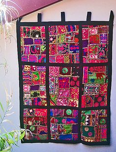 Fair Trade Kuchi Patchwork Tapestry Wall Hanging. An absolute feast for the eyes! 30 x 40 inches. Tabs for hanging. Cotton Vintage patches. Each is absolutely Unique. $89.00.