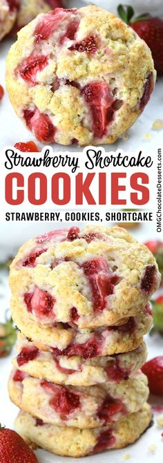 Strawberry Shortcake Cookies made with cream and fresh diced strawberries is a portable version of a classic dessert and light, tender, and soft cookies, full of fresh strawberry flavor. Baking Recipes, Cookie Recipes, Dessert Recipes, Cookie Ideas, Kitchen Recipes, Biscuit Cookies, Cookie Dough, Cookie Cakes, Cookie Favors
