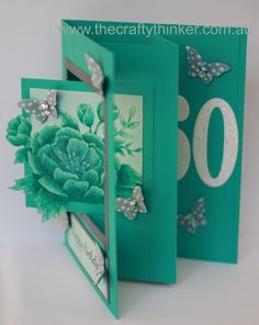 handmade Monochrome Birthday Blooms half swing Card ... luv the tone on tone coloring of the flowers ... Stampin' Up!