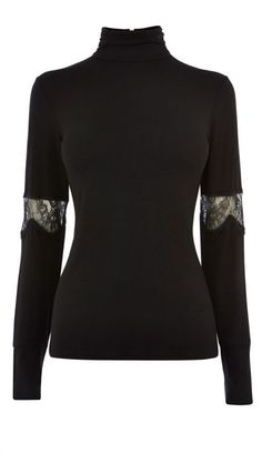 black *high neck* sweater with lace <3
