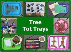 Tree & leaf tot trays, math & fine motor activities for preschool